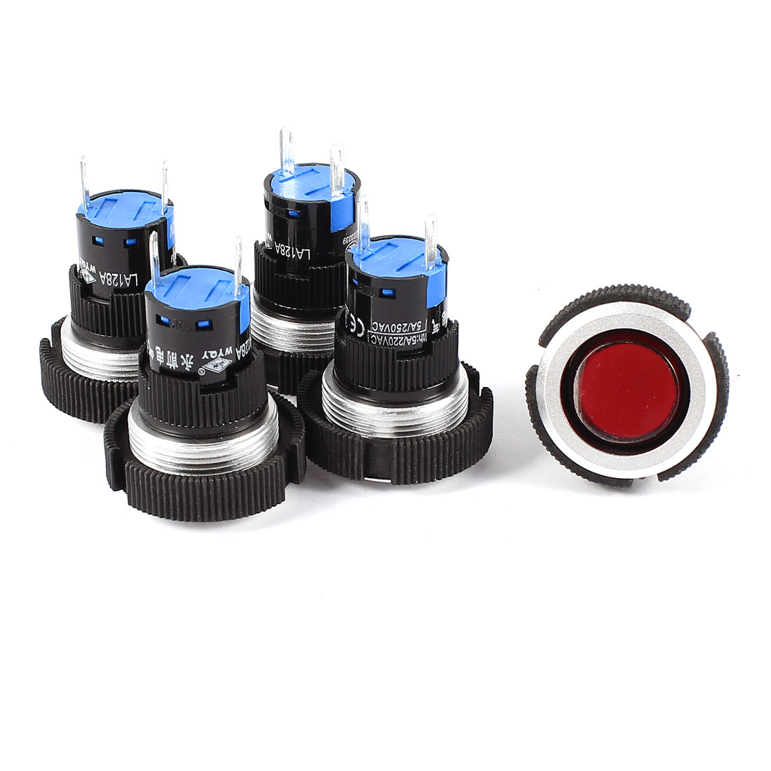 5Pcs AC 220V 22mm Thread Panel Mounting 2 Terminals Soldering Red Signal Indicator Light