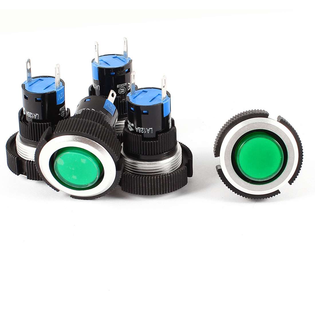 5 Pcs DC 12V 22mm Diameter Thread Panel Mounting 2 Terminals Soldering Plastic Pilot Green Signal Indicator Light Lamp Bulb