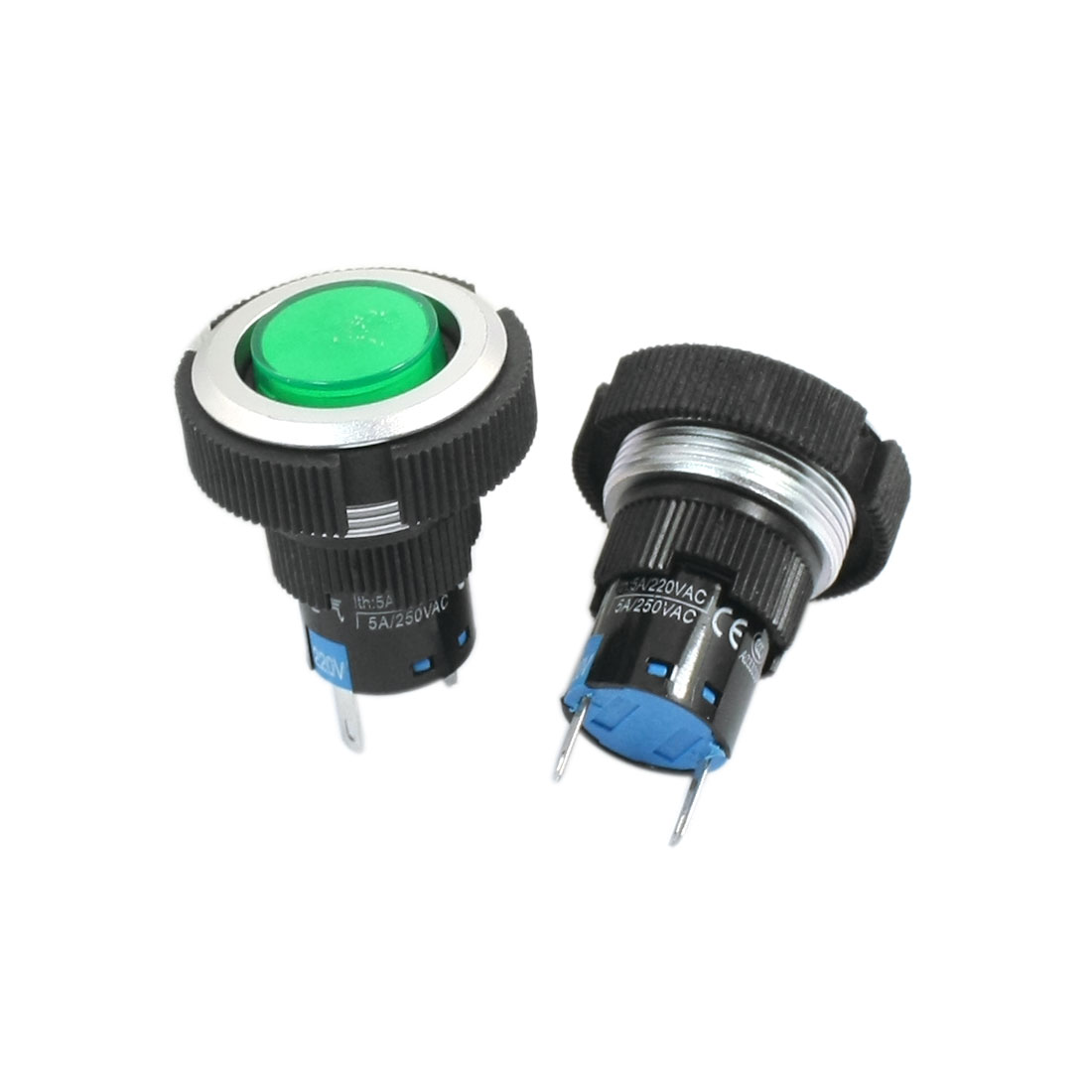 220V 22mm Dia Thread Panel Mounting 2 Terminals Soldering Plastic Signal Indicator Light Pilot Lamp Bulb Green 2Pcs
