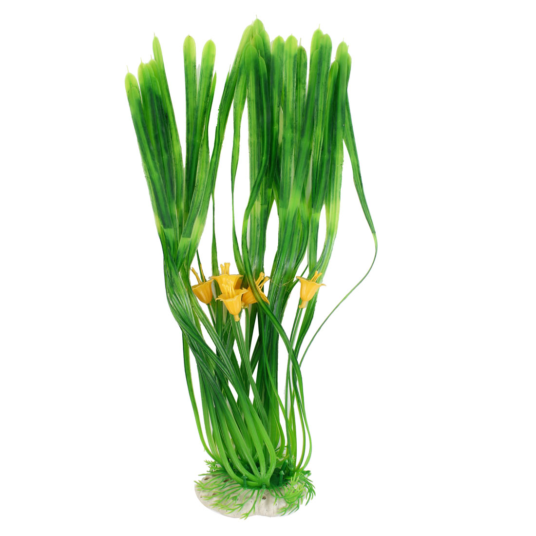 38cm High Green Yellow Artificial Plastic Water Grass Plant for Fish Tank Aquarium