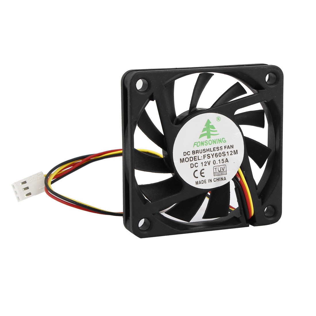 DC 12V 0.15A 60mmx10mm 2 Wires Lead Plastic 11 Flabellums Cooling Fan Black for PC Computer Cases CPU Cooler Radiator