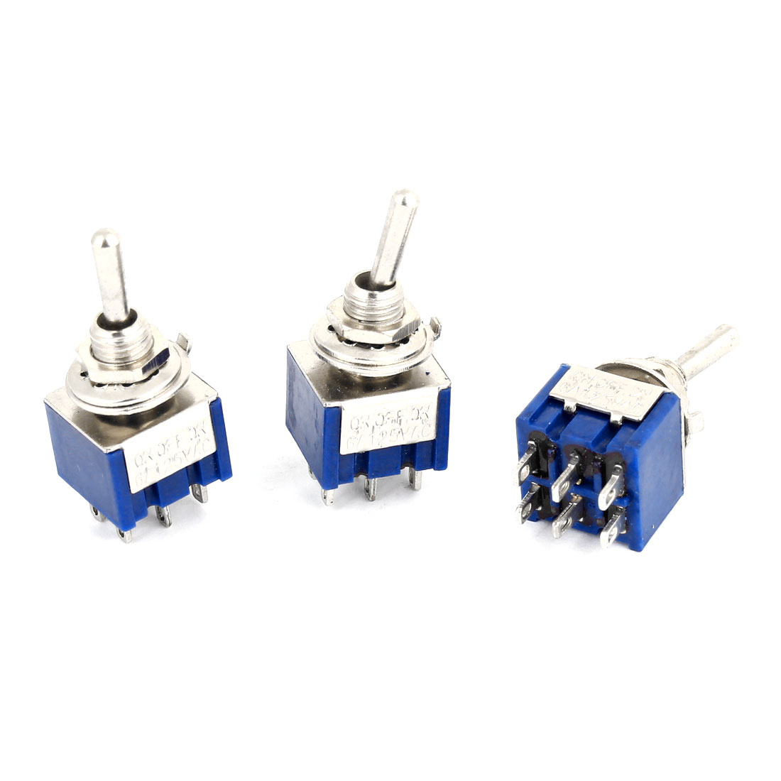 3 Pcs Switching Light Toggle Switch 3 Positions 6Pins DPDT AC 125V 6A