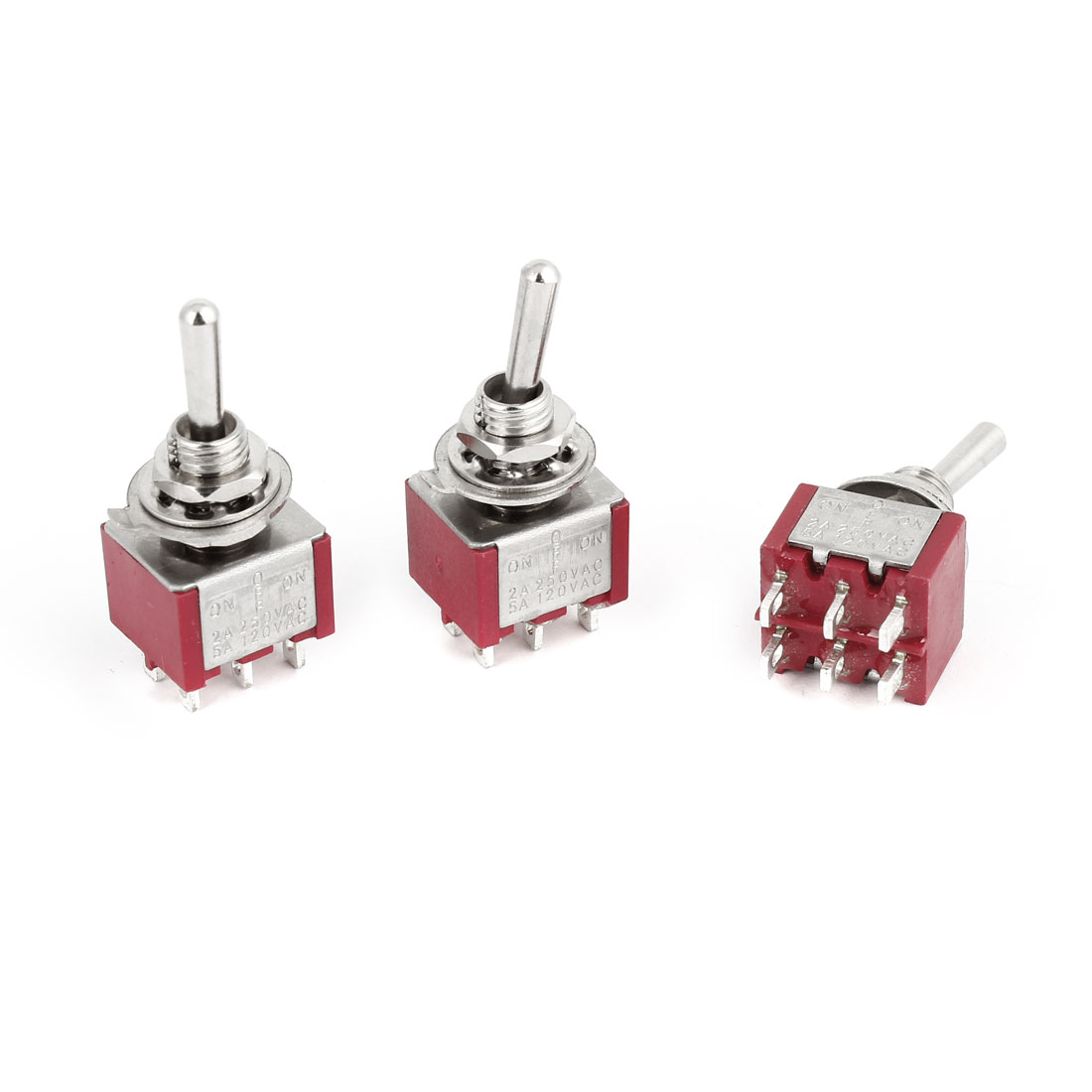 3pcs Switching Light Toggle Switch 2 Positions 6Pins DPDT AC 250V 2A 120V 5A