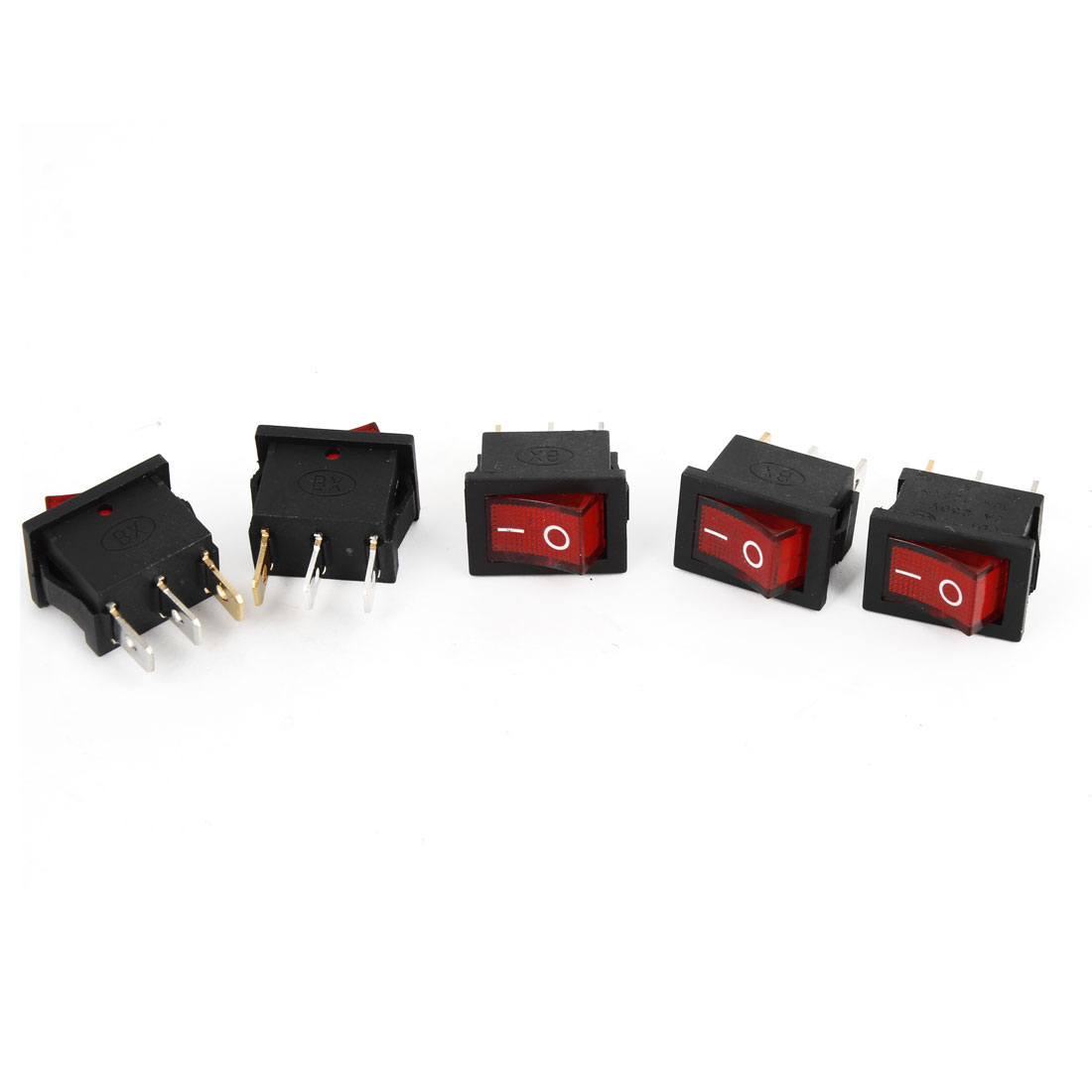 5PCS 2Positions SPST Panel Mount Red Lamp Snap In Boat Rocker Switch AC 250V/6A 125V/10A