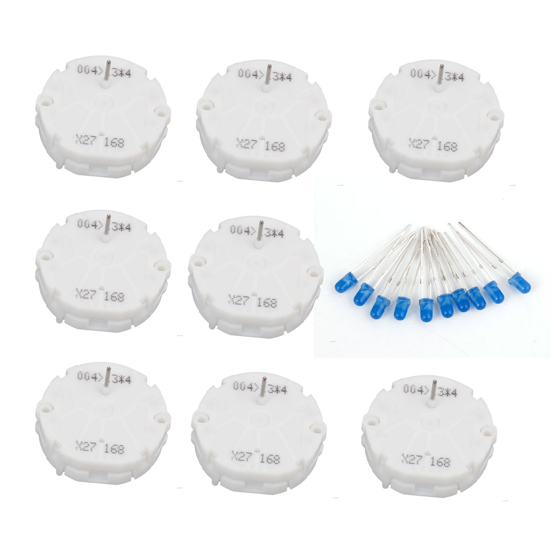 8pcs Stepper Motor Speedometer Gauge Kit X27.168 Cluster w 10pcs Blue LED Bulbs