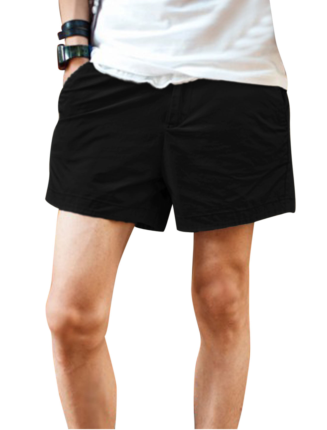 Men Zip Up Double Slant Pockets Front Casual Short Shorts Black W30