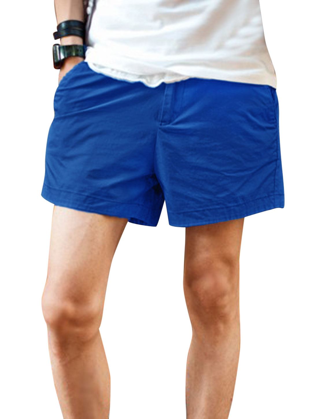 Men Zip Up Welt Pockets Back Casual Short Shorts Royal Blue W30