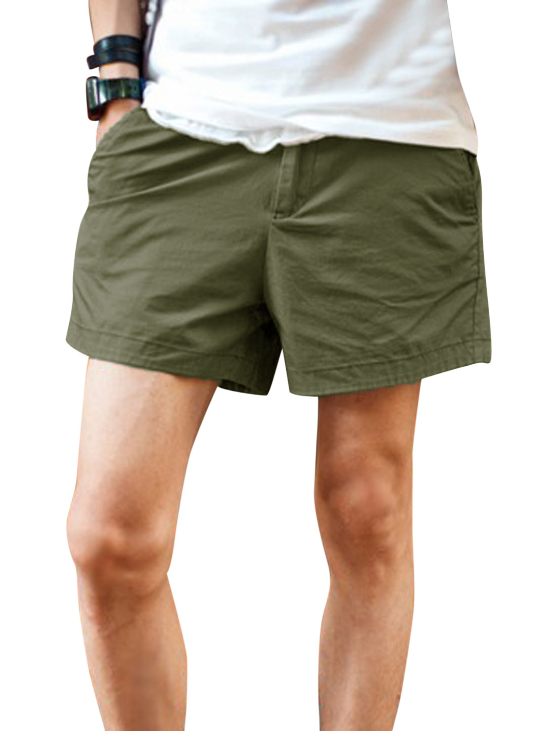 Men Zip Fly Welt Pockets Back Leisure Short Shorts Army Green W30