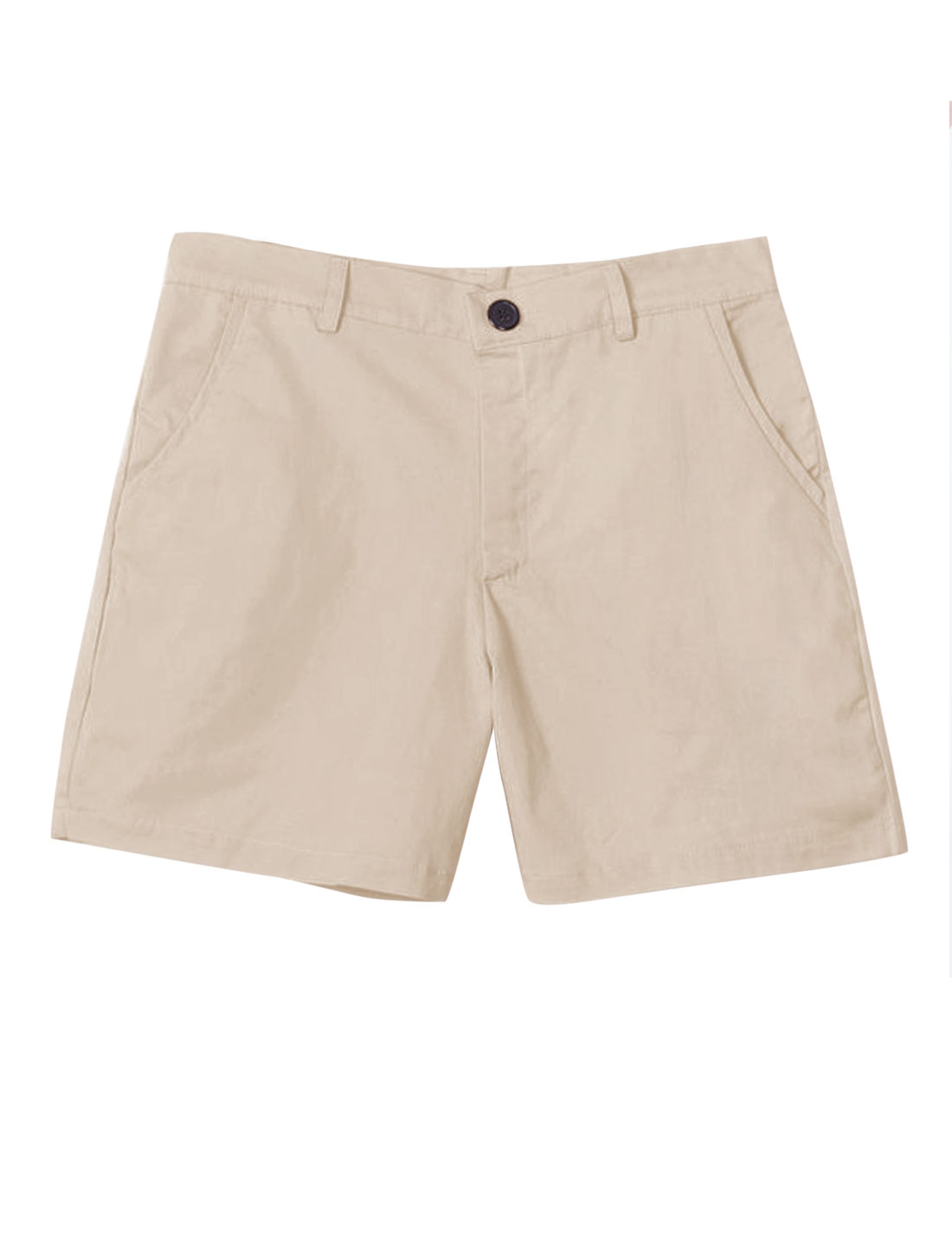 Men Zip Fly Double Slant Pockets Front Leisure Short Shorts Khaki W30