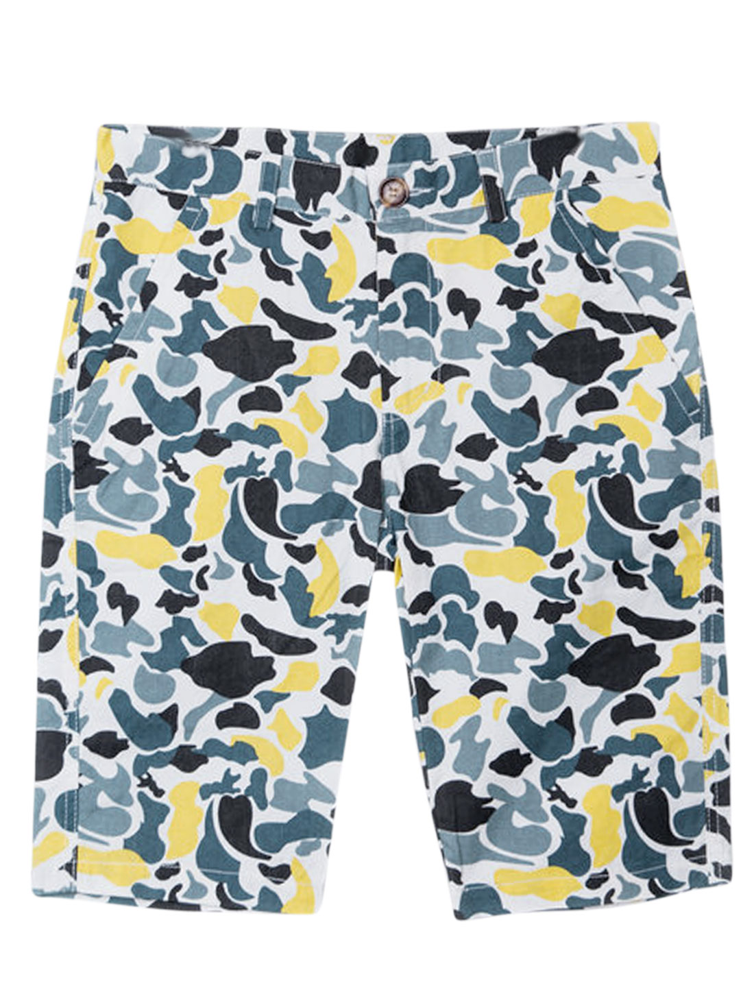 Men Zipper Fly Camouflage Pattern Chic NEW Shorts White Yellow W28