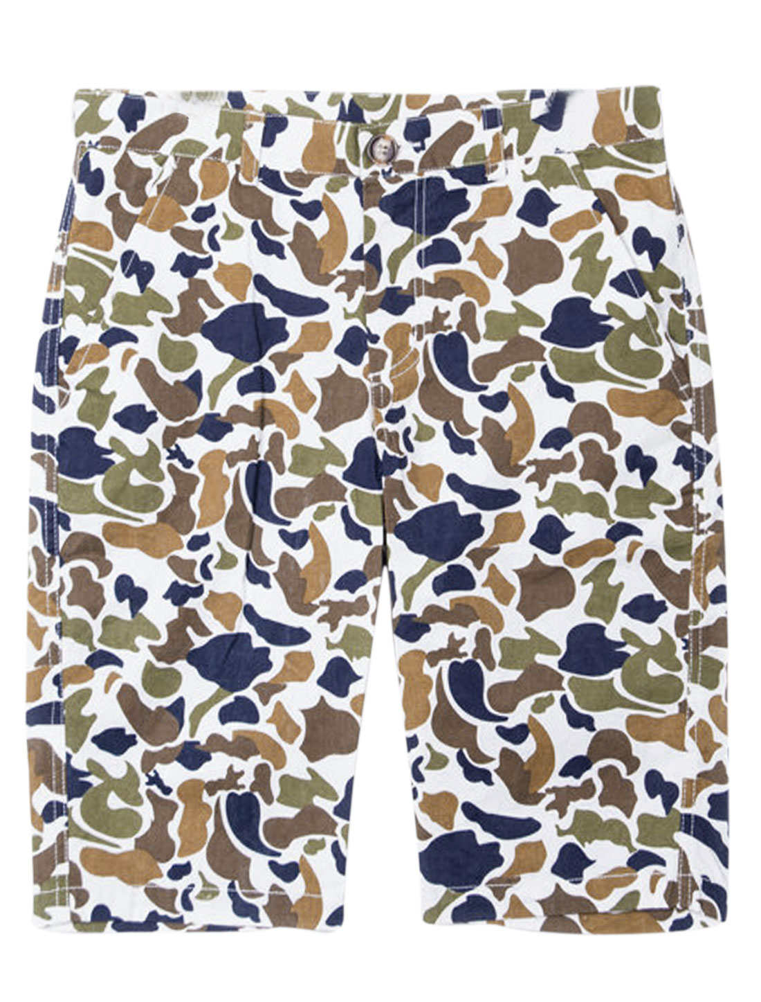 Men Mid Rise Belt Loop Camouflage Pattern Chic NEW Shorts White Ochre W28