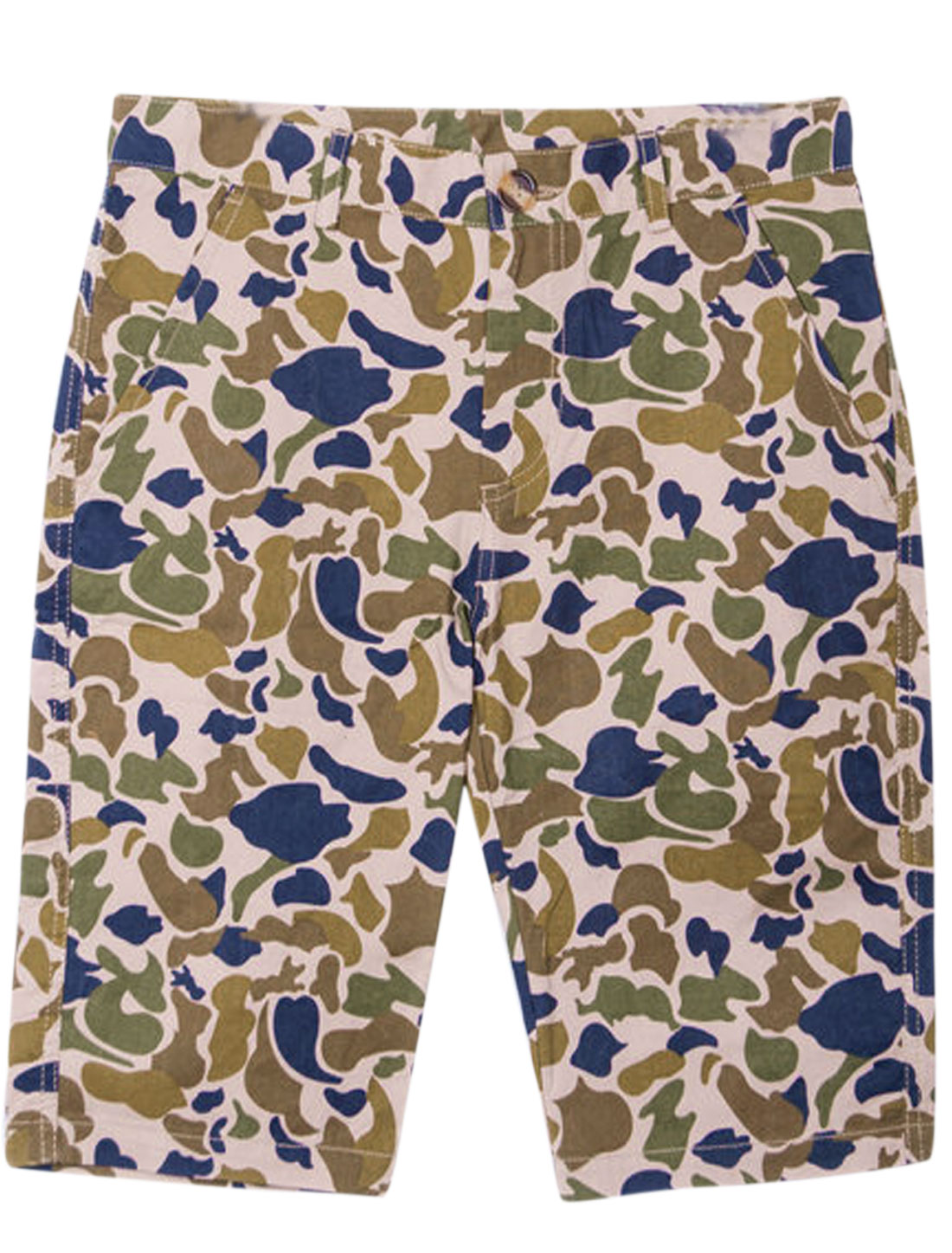 Men Button-Up Camouflage Pattern Chic NEW Shorts Navy Blue Khaki W28