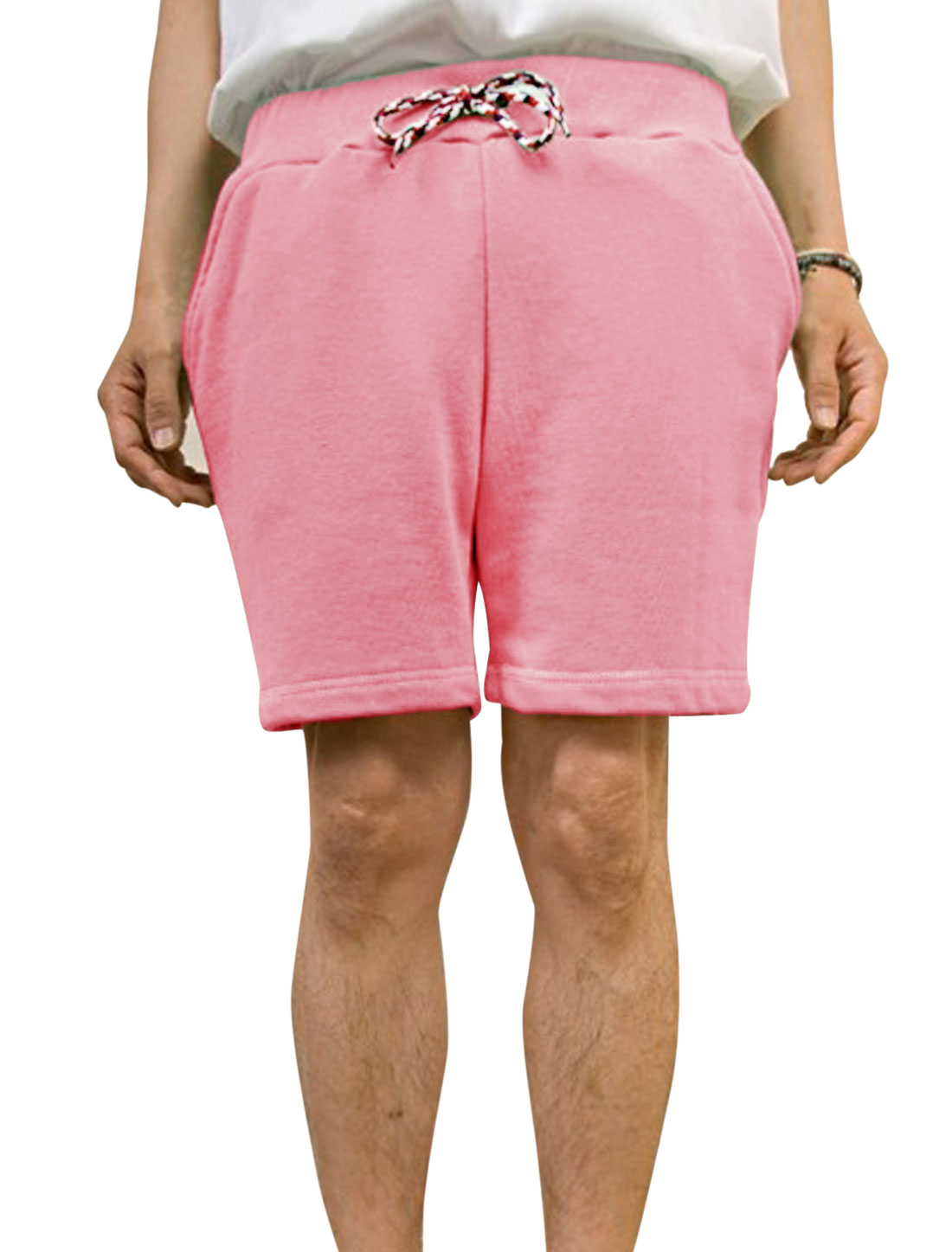 Men Leisure Braided Drawcord Slant Pockets Front Shorts Light Pink W30