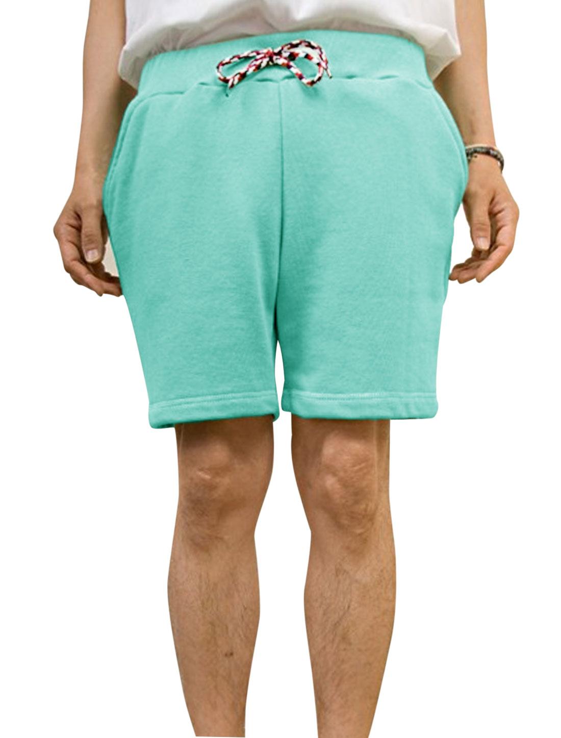 Men Leisure Braided Drawcord One Pocket Back Shorts Aqua W30
