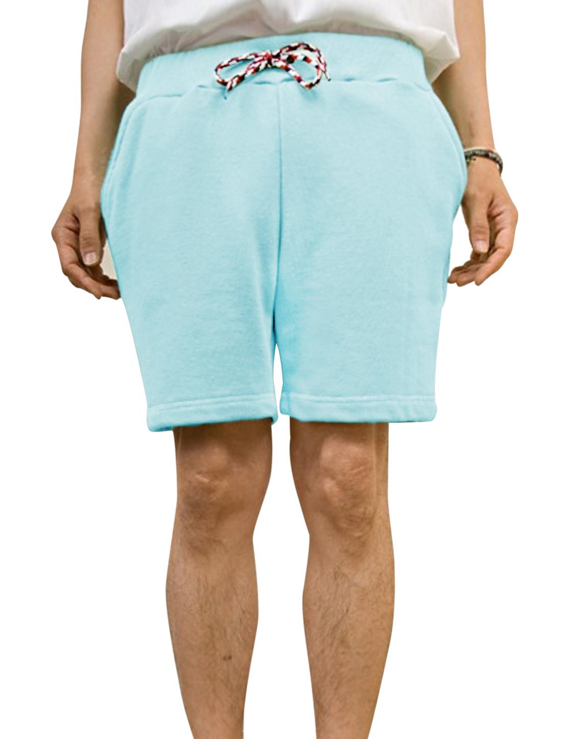 Men Leisure Double Slant Pockets Front Pure Design Shorts Baby Blue W30