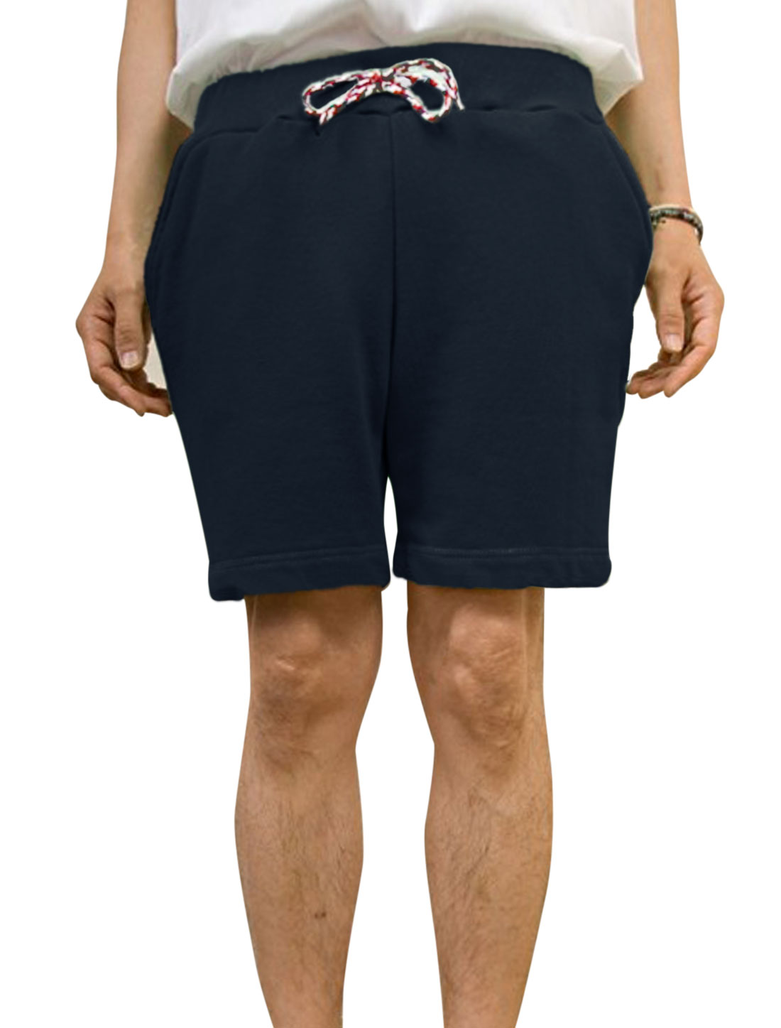 Men Cozy Fit Braided Drawcord Stitched Detail Short Pants Navy Blue W30