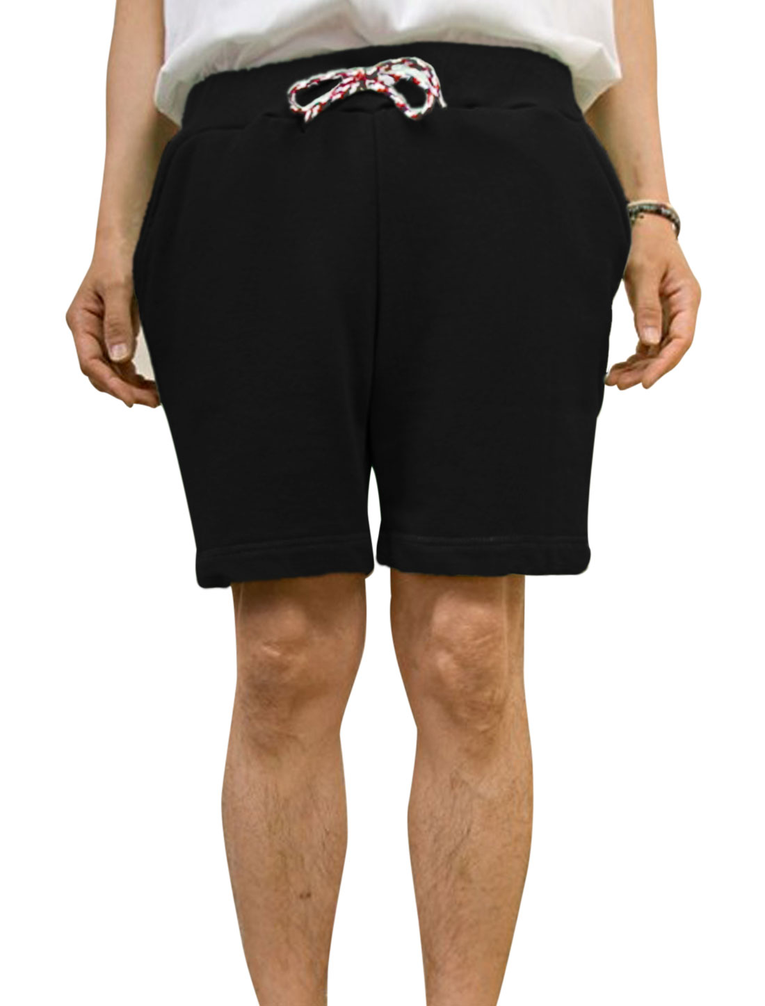 Men Casual Elastic Braided Drawcord Waist Stitched Detail Shorts Black W30