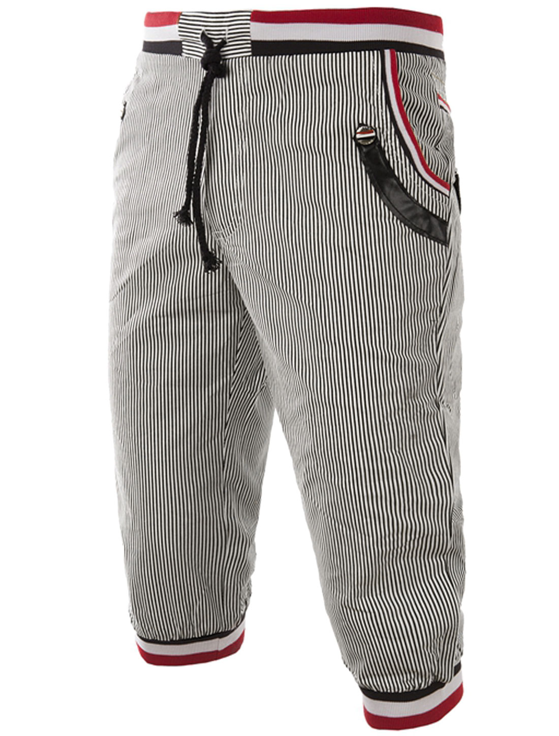 Men Drawstring Waist Stripes Ribbed Cuffs Capris Pants Black White XS