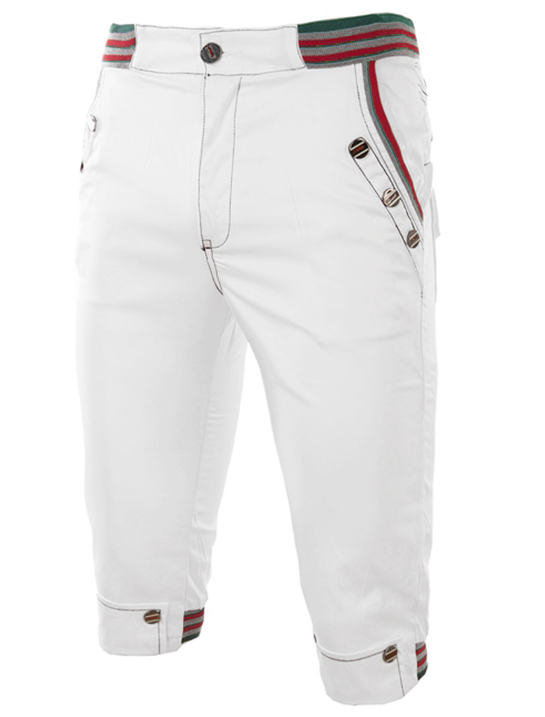 Men Zip Up One Button Up Buttons Decor Capris Pants White W28