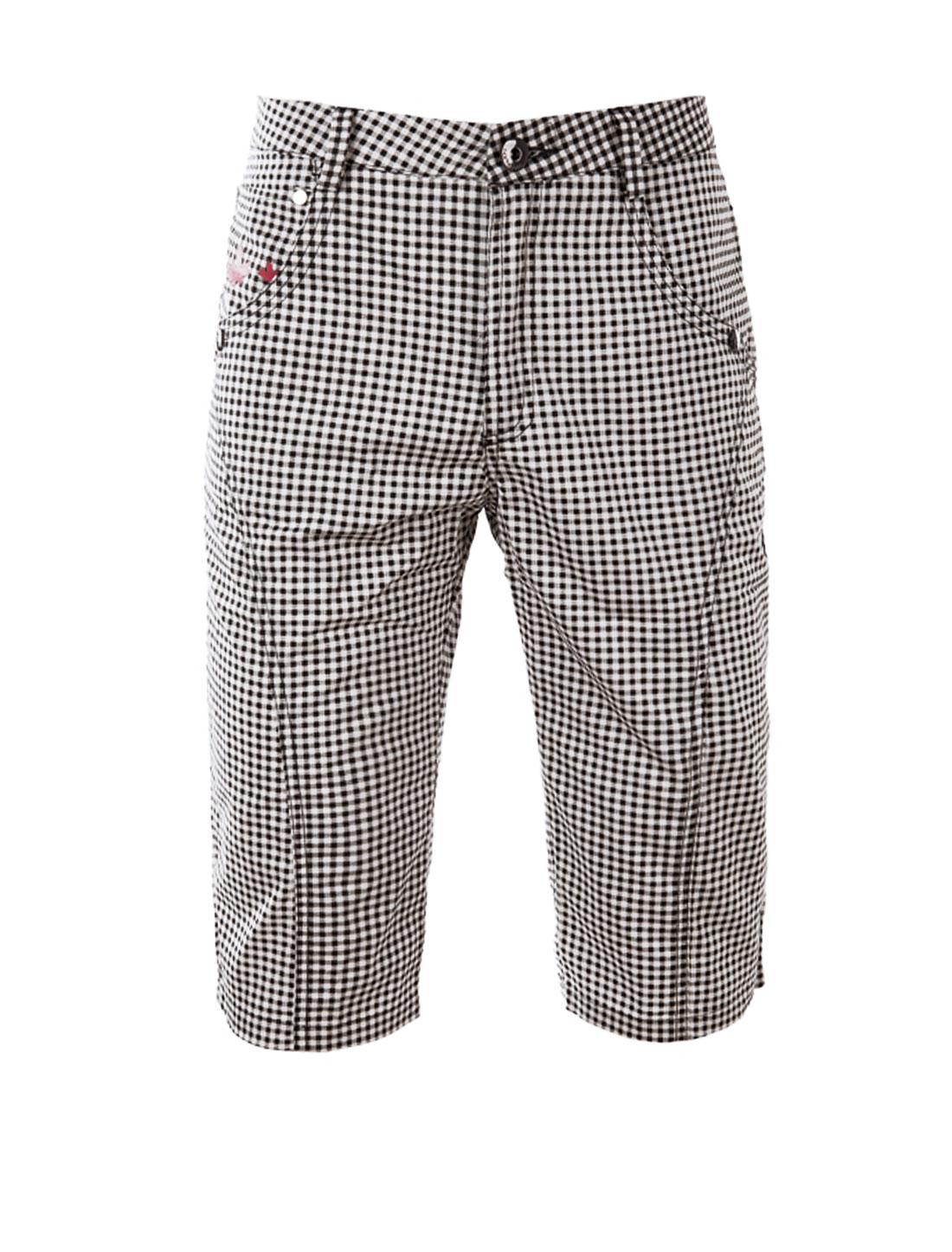 Men's Zip Fly Front Pockets Maple Print Detail Plaids Shorts Black White W28