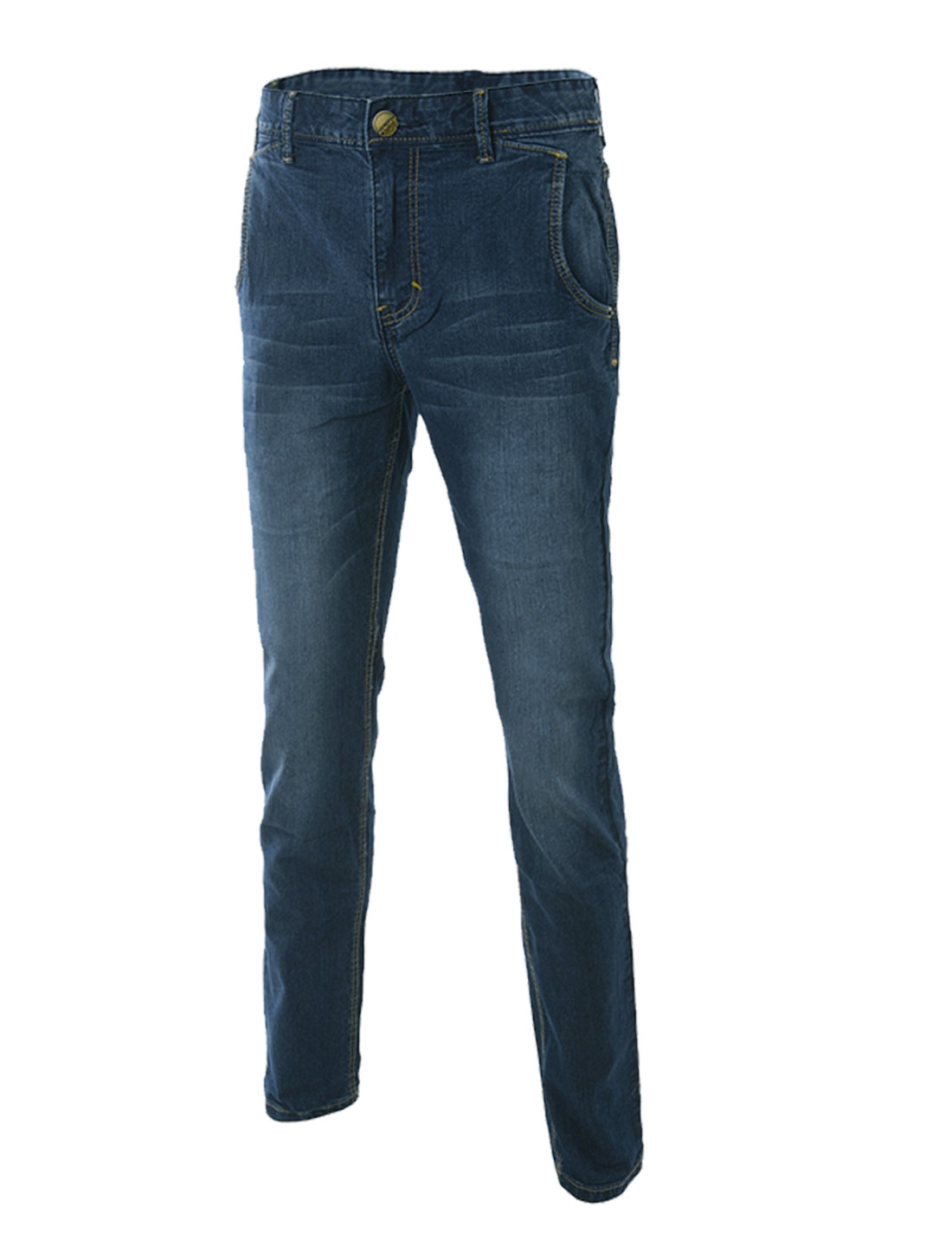 Man's Mid Rise Front Hip Pockets Zip Fly Denim Pants Dark Blue W32