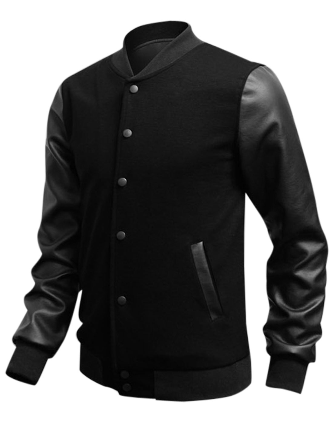 Man Ribbed Collar Cuffs Snap Button Closure Casual Jacket Black M