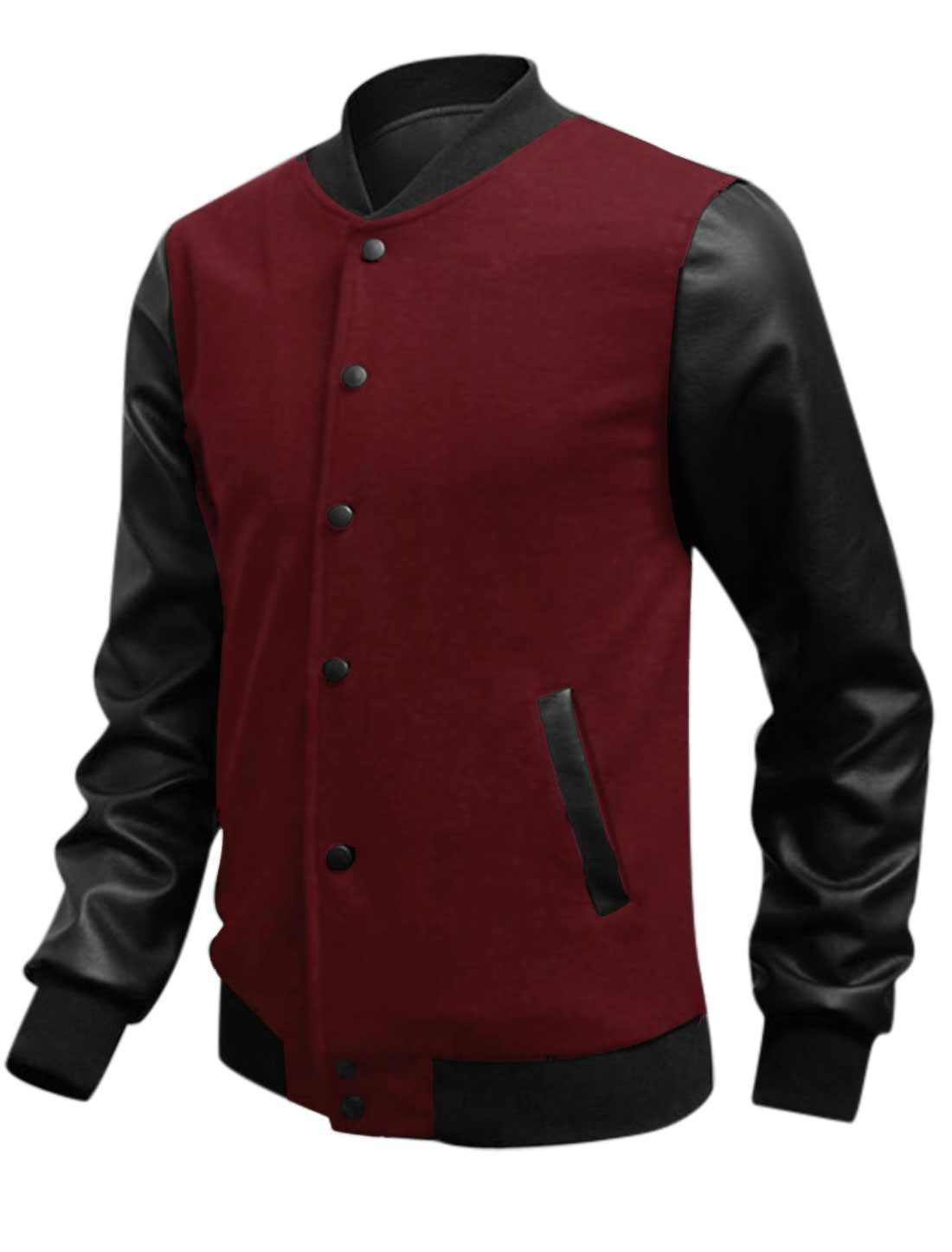 Single Breasted Rib Knit Collar Snap Button Burgundy M Jacket for Man