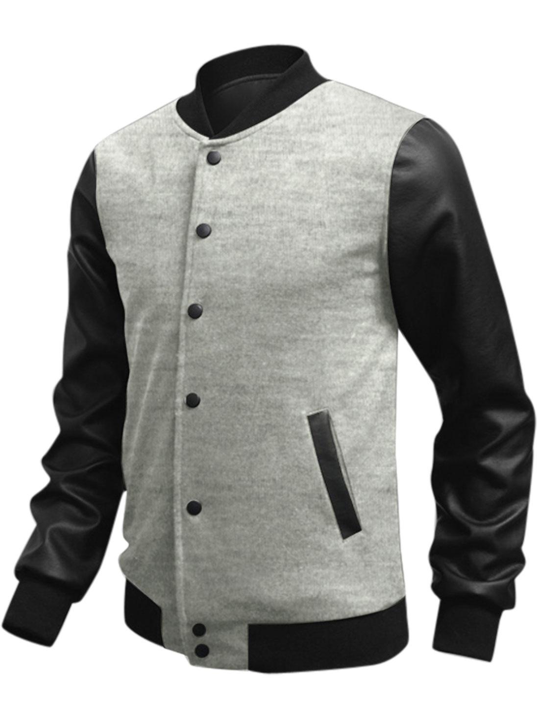 Man Rib Knit Collar Cuffs Button Closure Slant Pockets Jacket Light Gray M