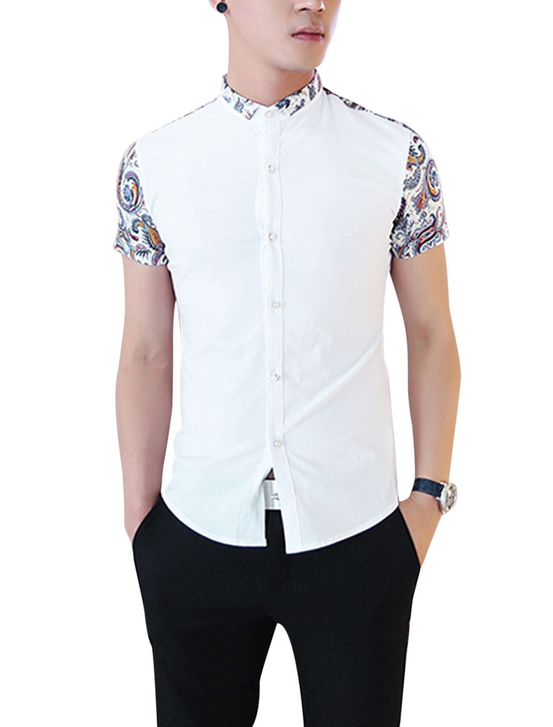 Men's Convertible Collar Button Down Short Sleeve Novelty Print Shirt White S