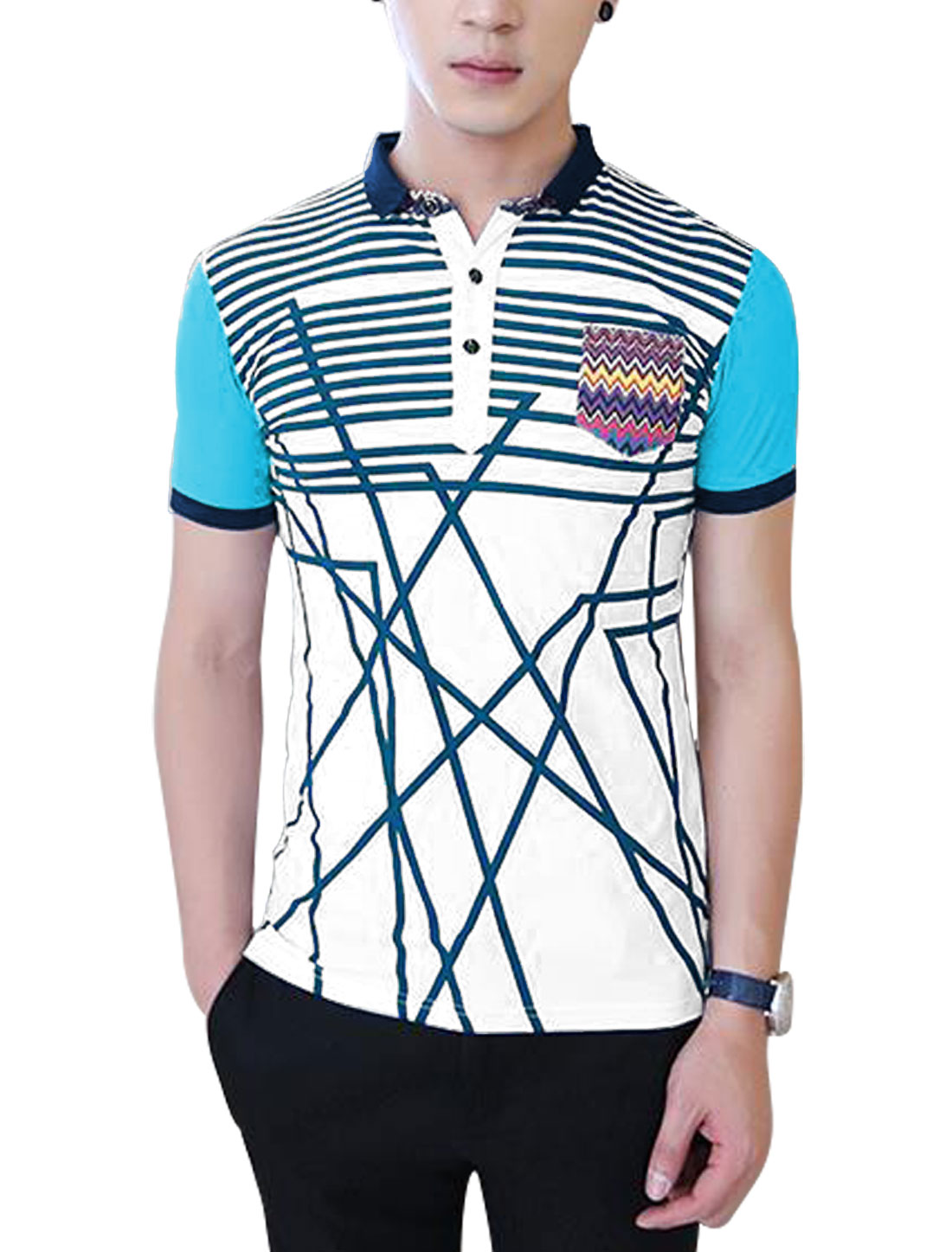 Men Point Collar Short Sleeve Stripes Colorblock Polo Shirt White M