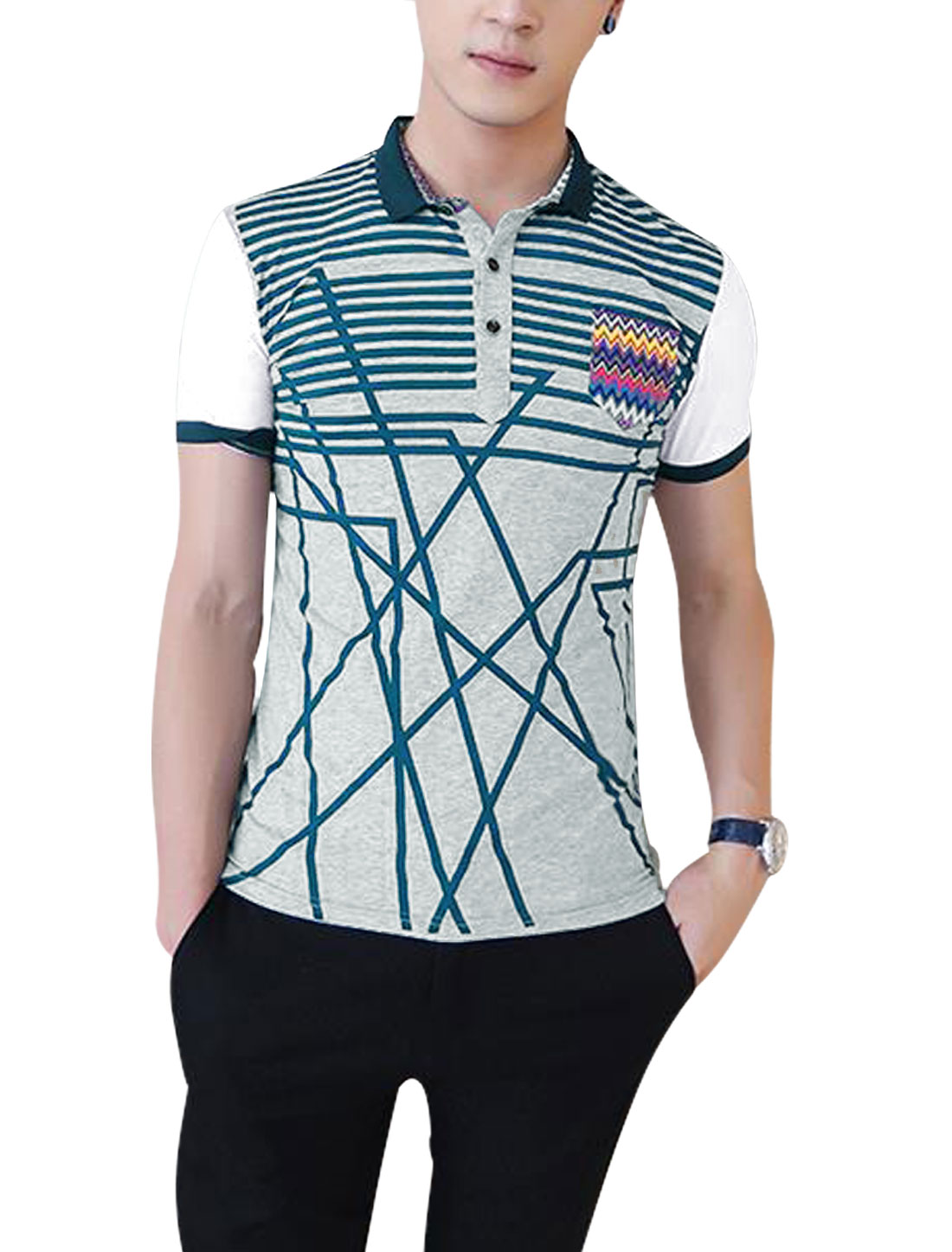 Men Casual Short Sleeve Stripes Colorblock Polo Shirt Light Gray M