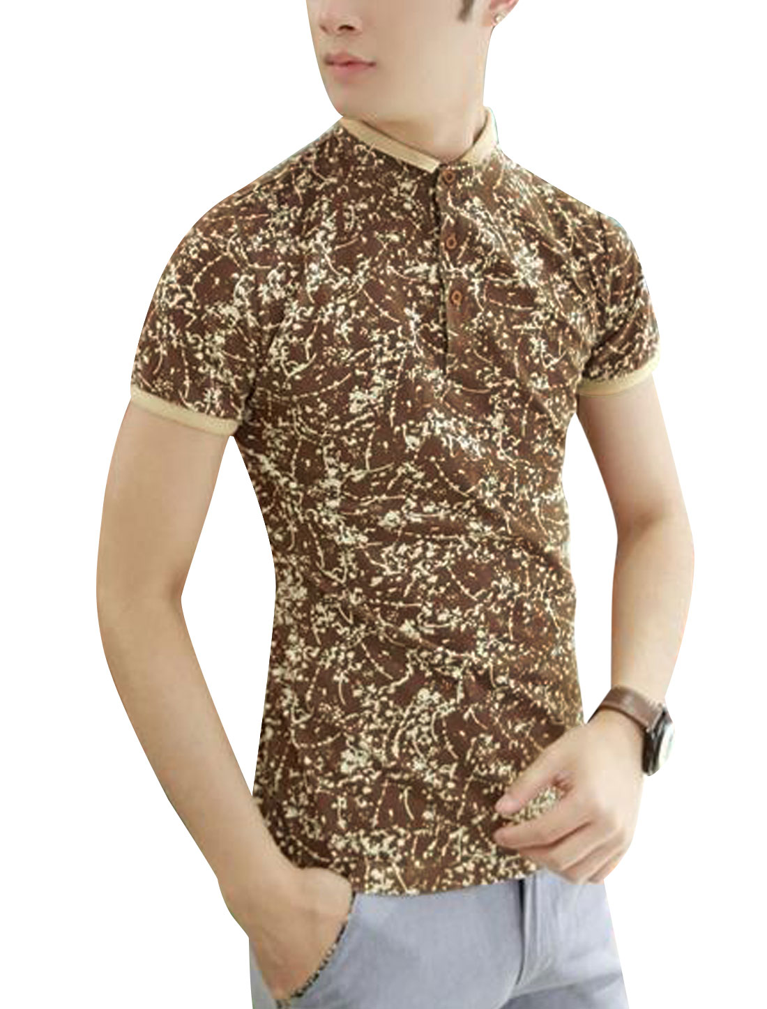 Novelty Print Contrast Collar Cuffs Stand Collar Brown M T Shirt for Men