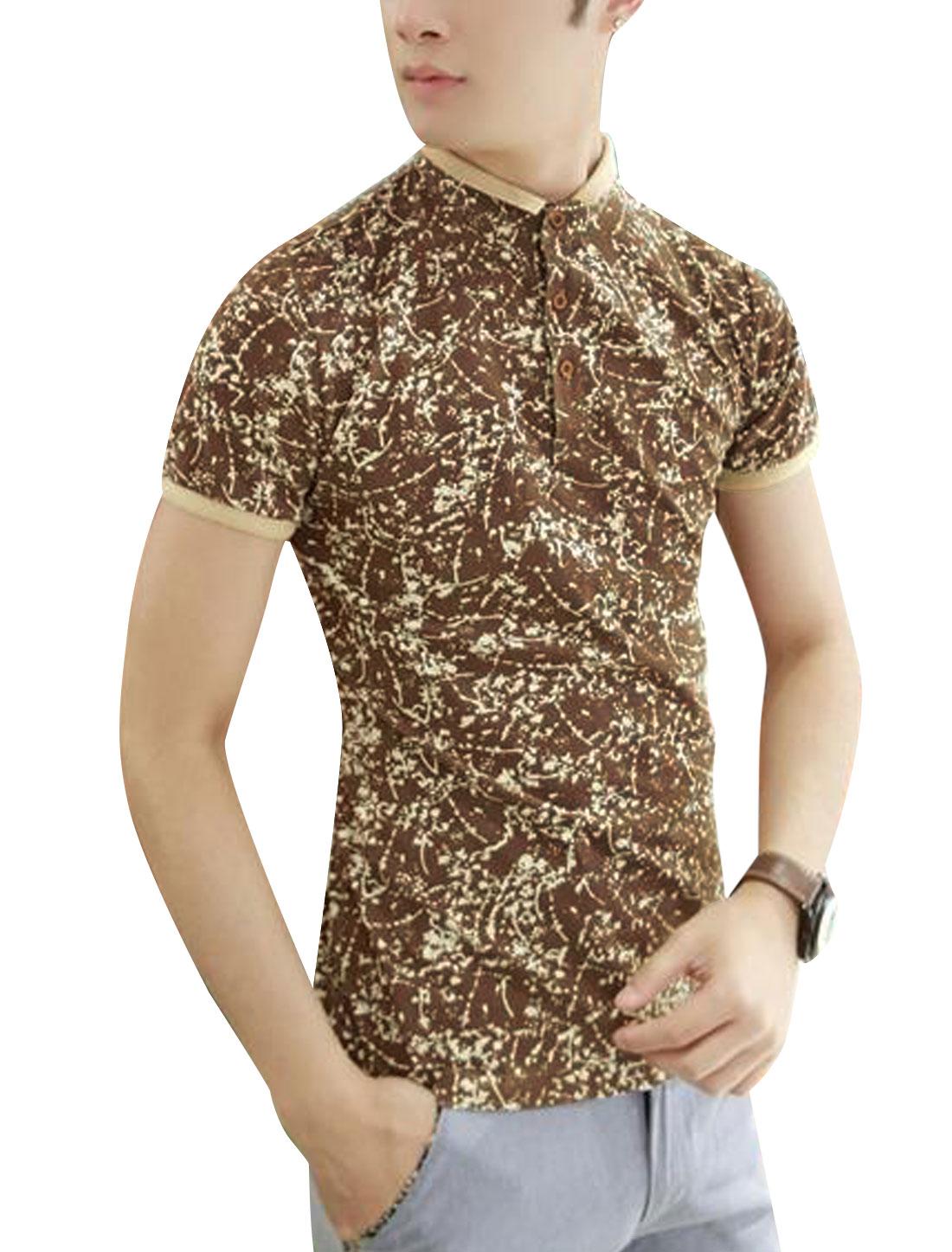 Novelty Print Contrast Collar Cuffs Stand Collar Brown M T Shirt for Men