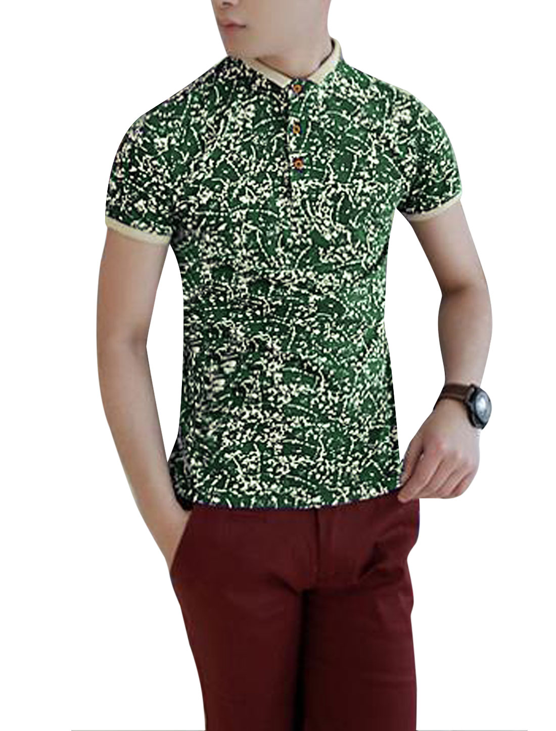 Man's Stand Collar Pullover 3-Button Novelty Print Casual T-Shirt Green M