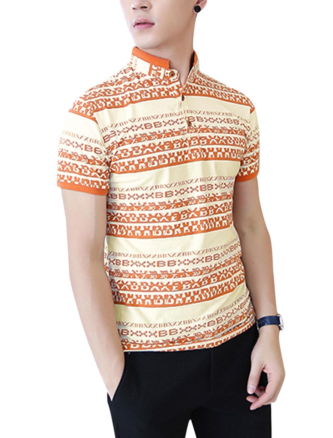 Men NEW Letters Pattern 3/4 Placket Stylish Polo Shirt Orange Beige M