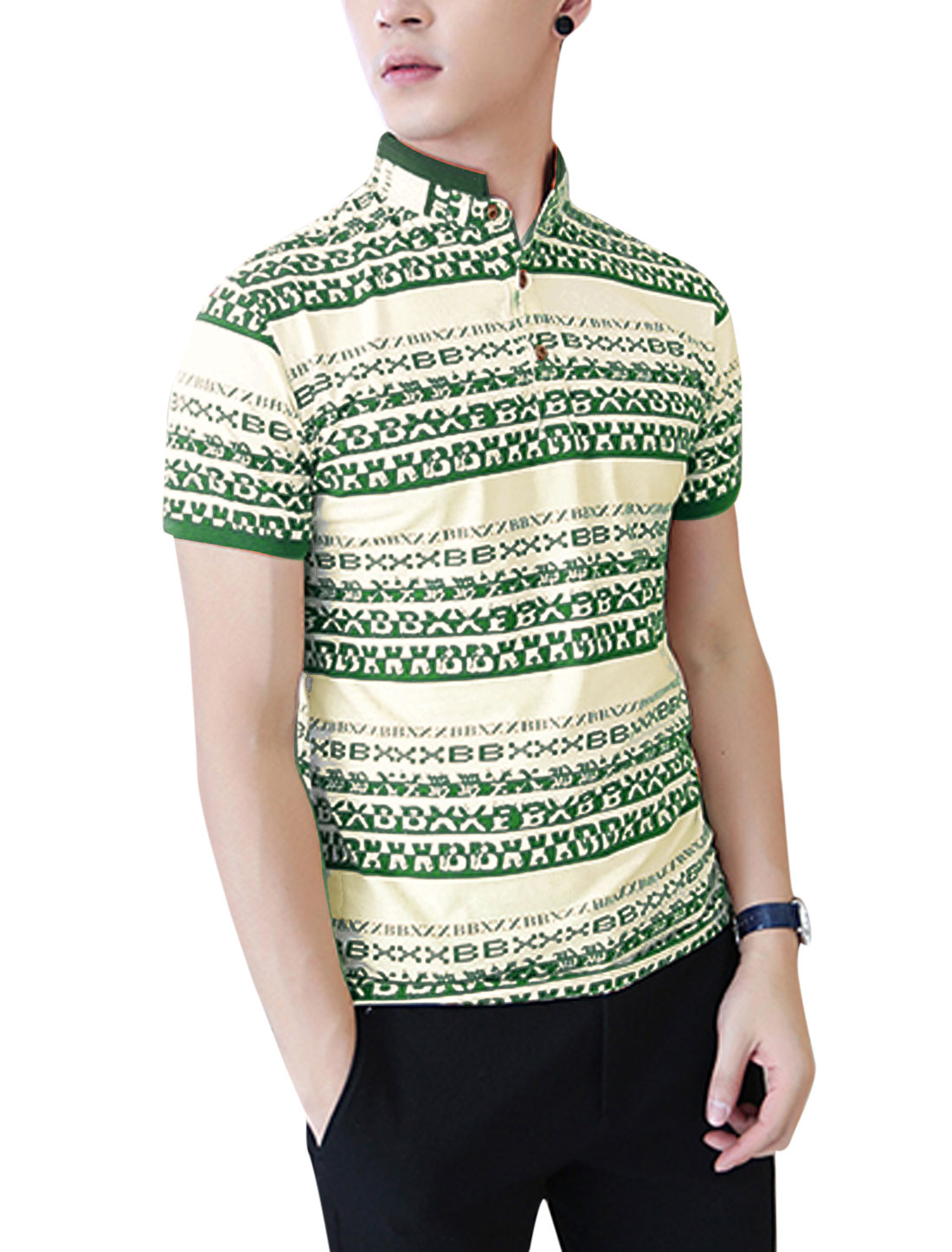 Men Letters Pattern 3/4 Placket Stylish Polo Shirt Green Beige M
