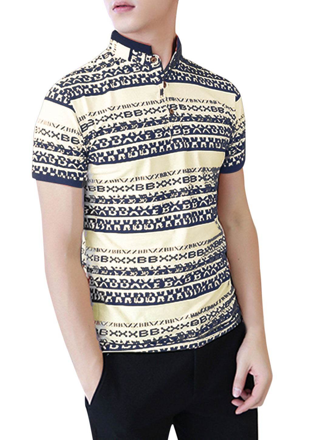 Men Letters Pattern Rib Knit Detail Soft Polo Shirt Navy Blue Beige M