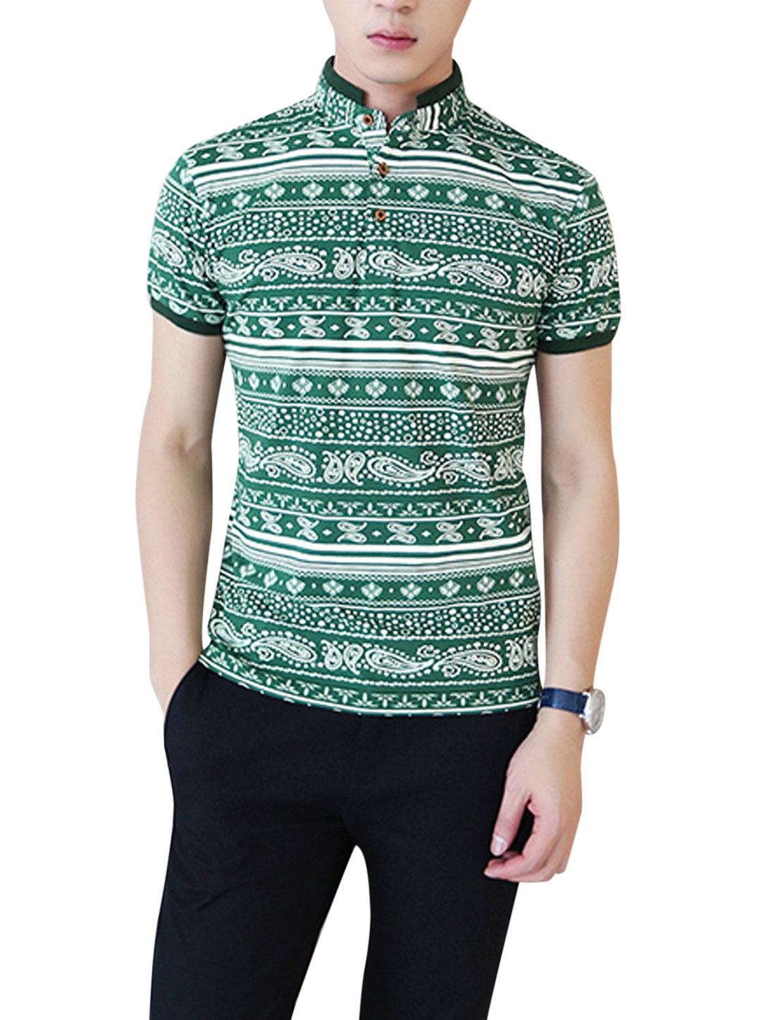 Men Fashion Stand Collar Stripes Rib Knit Patchwork Polo Shirt Green M
