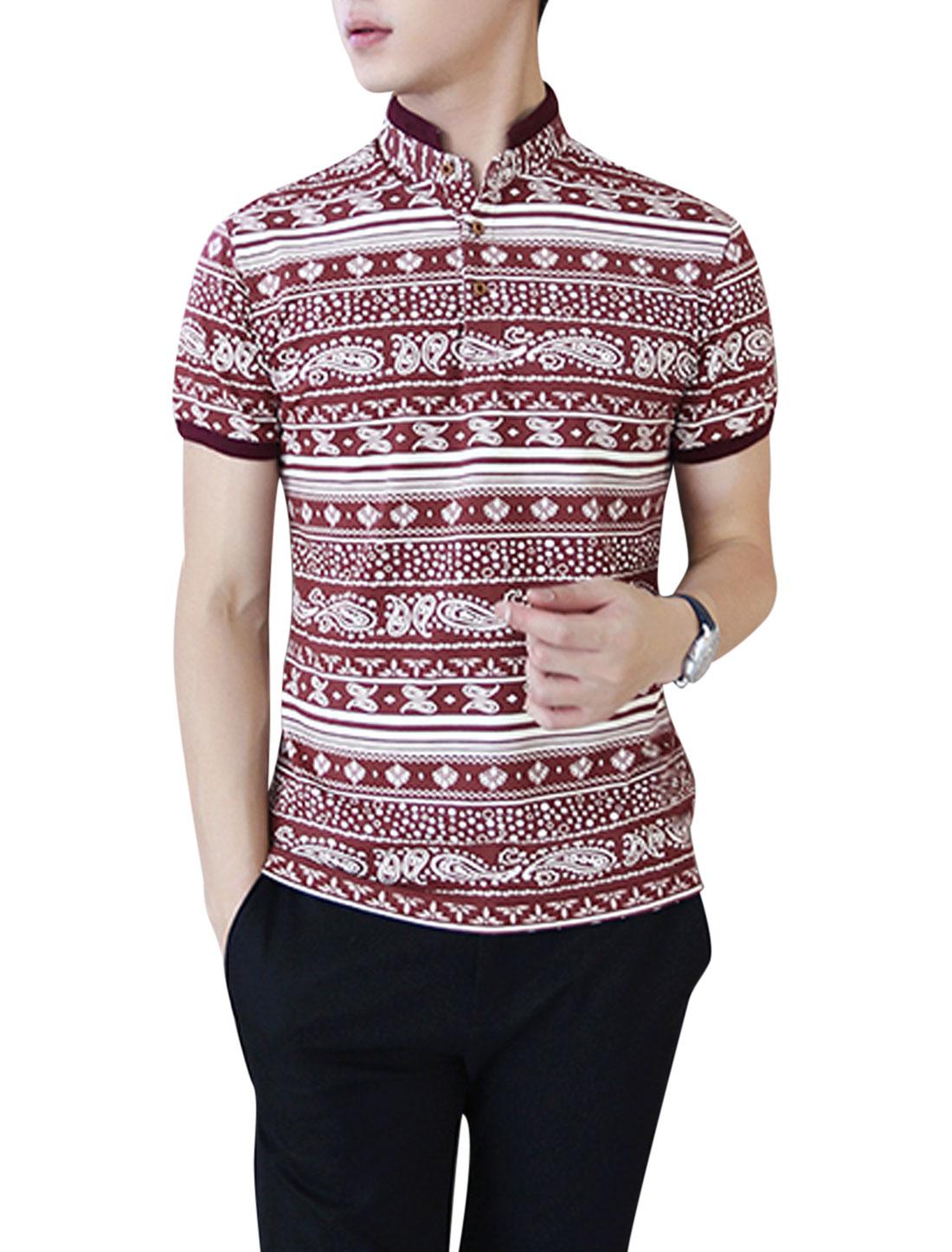 Men Fashion Stand Collar Paisleys Pattern Dots Polo Shirt Burgundy M