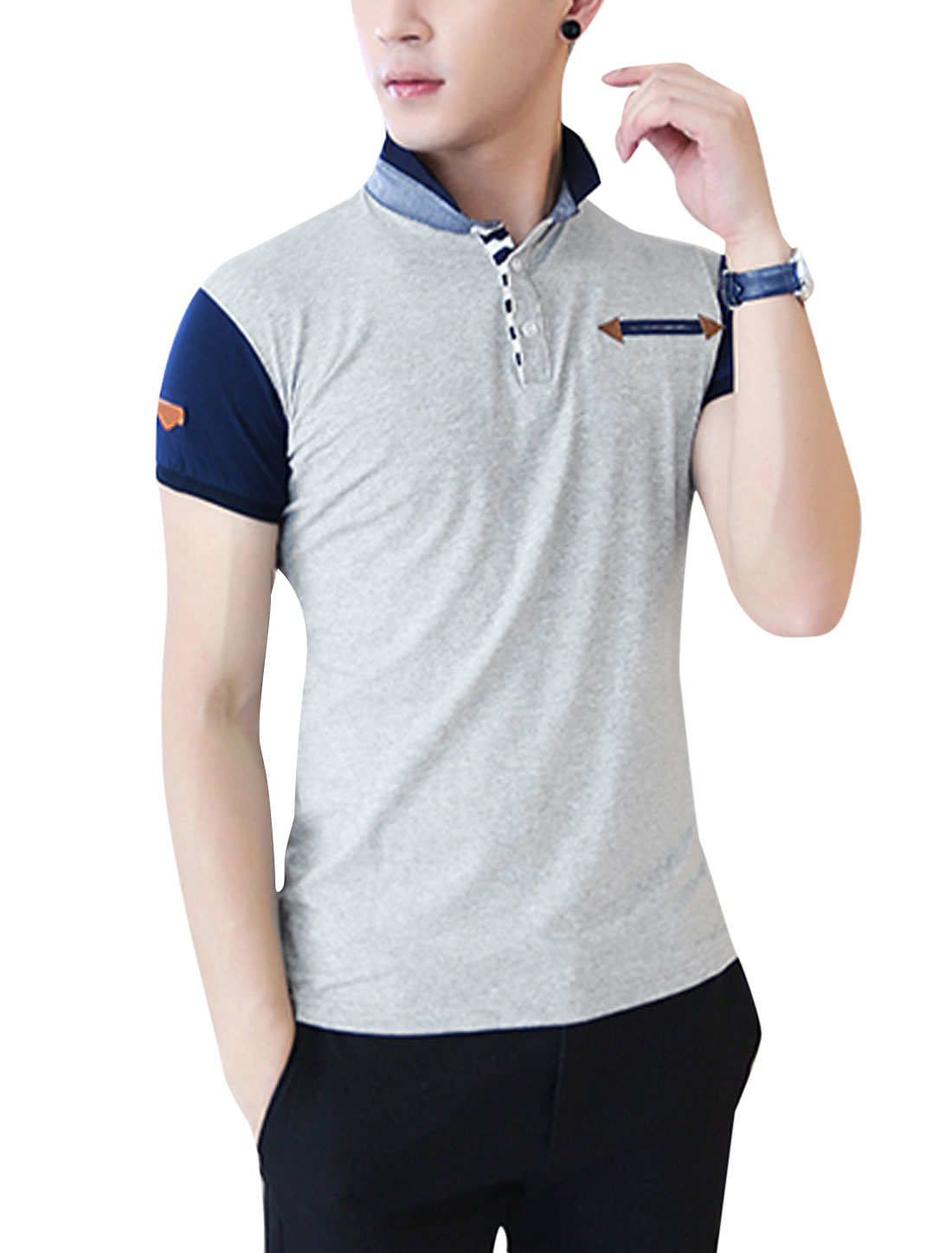 Men Stand Collar Short Sleeve Slim Fit Polo Shirt Gray M