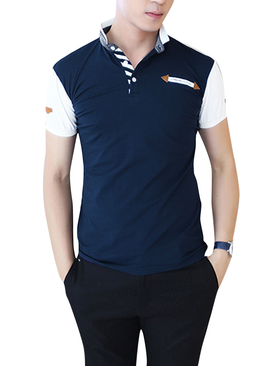 Men Imitation Leather Spliced Detail Polo Shirt Dark Blue M