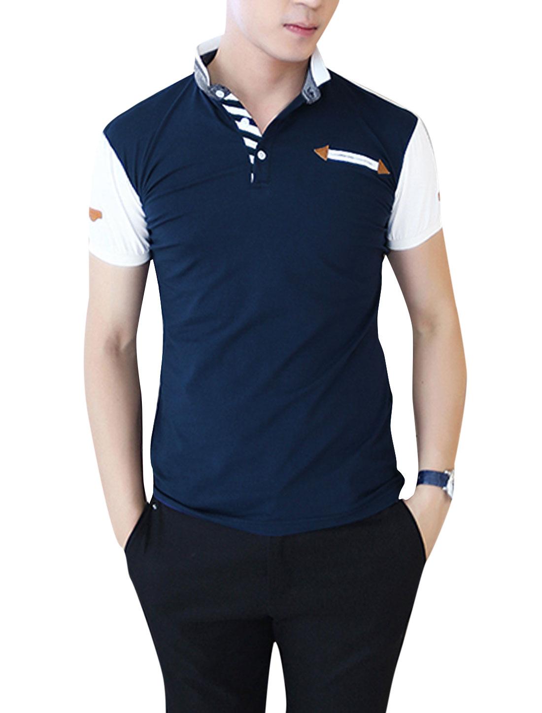 Men Imitation Leather Spliced Detail Polo Shirt Dark Blue M