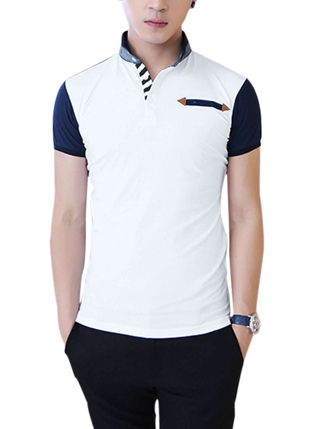 Men Stand Collar Short Sleeve Colorblock Polo Shirt White M