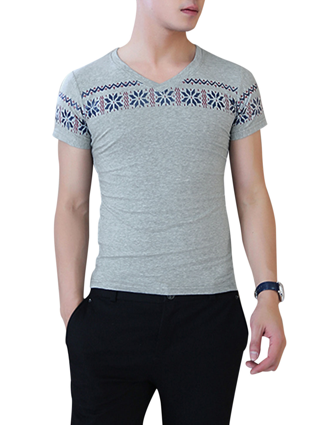 Men V Neck Short Sleeve Novelty Prints Simple Tee Light Gray S