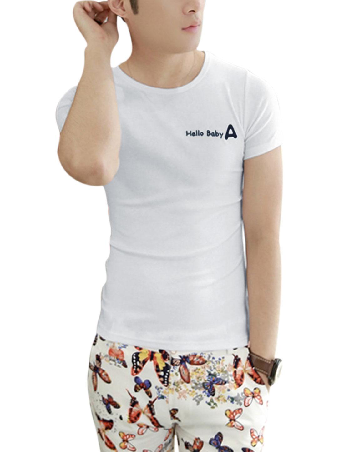 Men Round Neck Short Sleeve Letters Prints Basic Tee White S