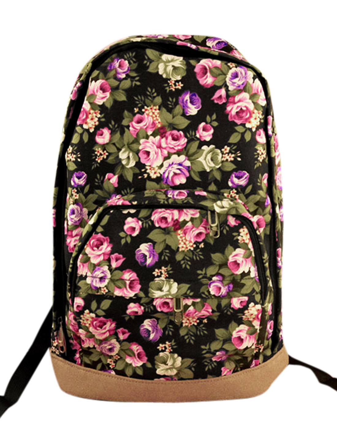 Men Zip Fly Panel Design Floral Prints Backpack Multicolor