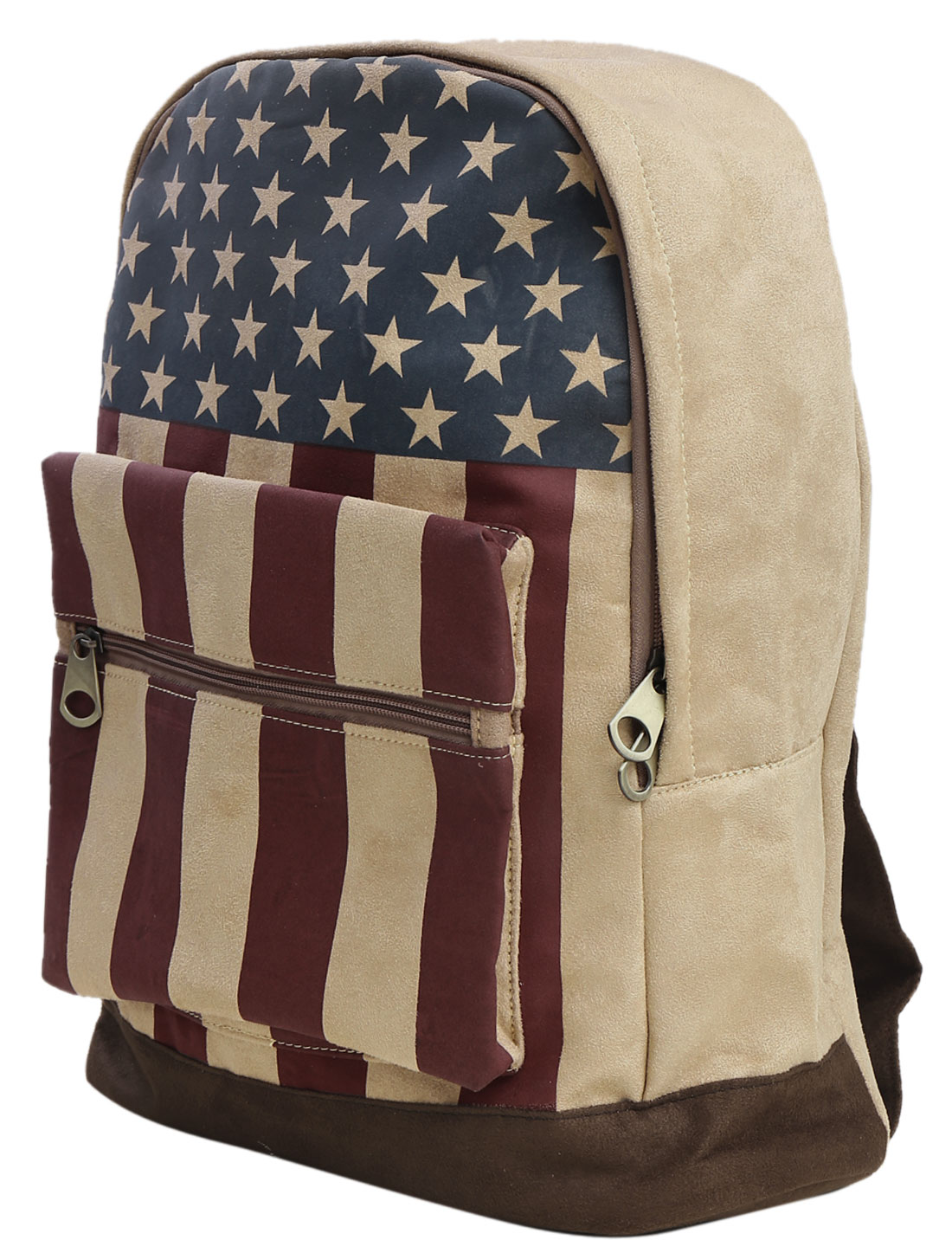 Men Front Pockets Zip-Up Closure Stripes Stars Print Backpack Multicolor