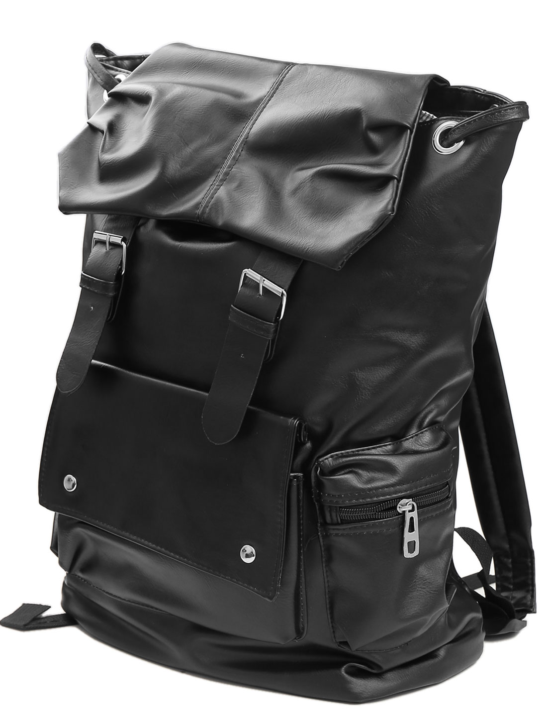 Men Magnetic Button Closure Drawstring Imitation Leather Backpack Black