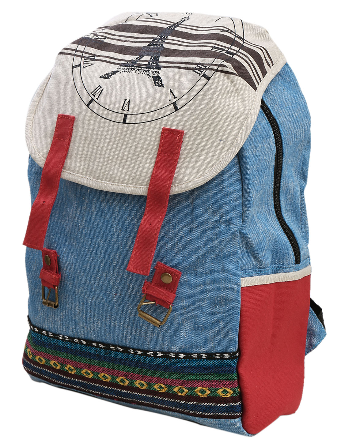 Men Adjustable Shoulder Straps Geometric Embroidery Backpack Light Blue