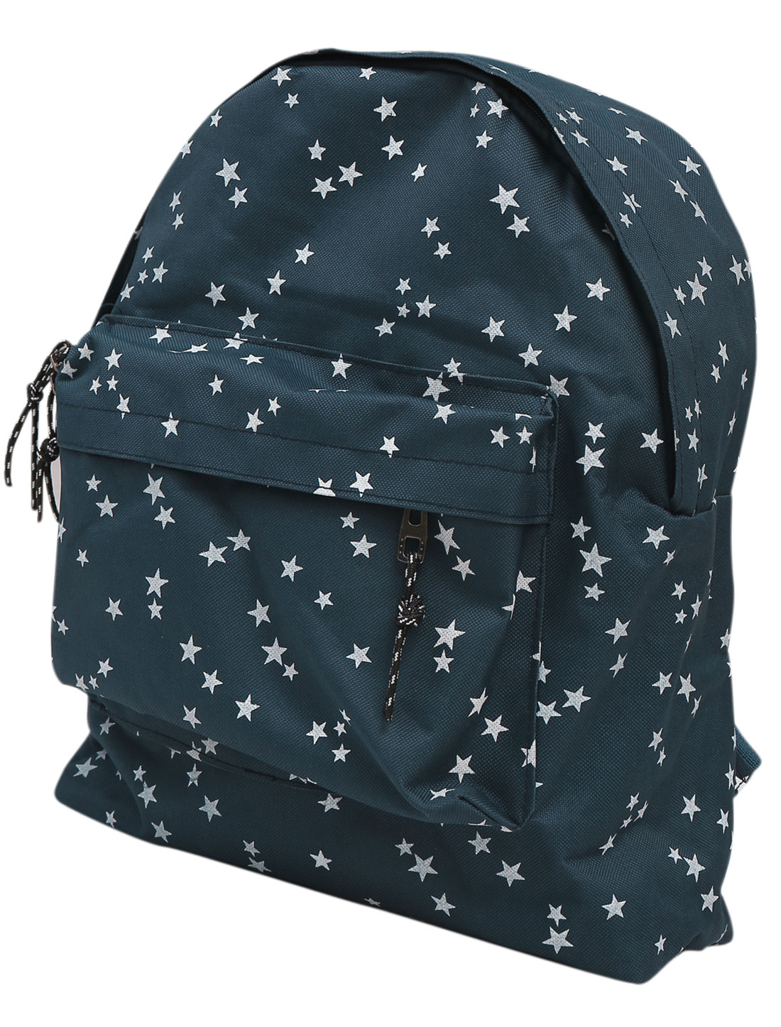 Men Zip Fly Adjustable Shoulder Straps Stars Prints Canvas Backpack Navy Blue